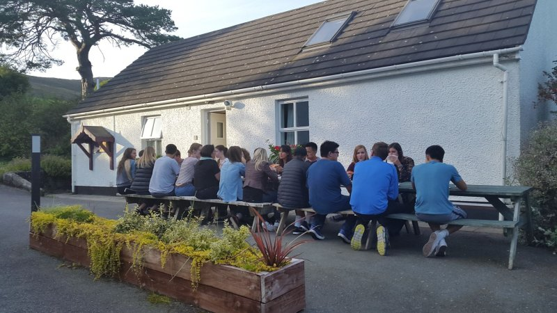 Group-BBQ-outside-the-Ceili-House-at-Rostrevor-Holidays