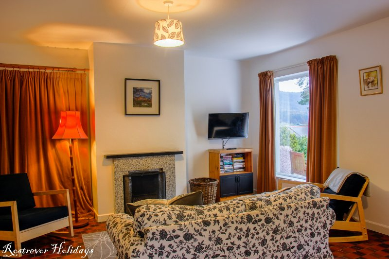 Leckan Beg, Living Area with Open Fire, Rostrevor Holidays