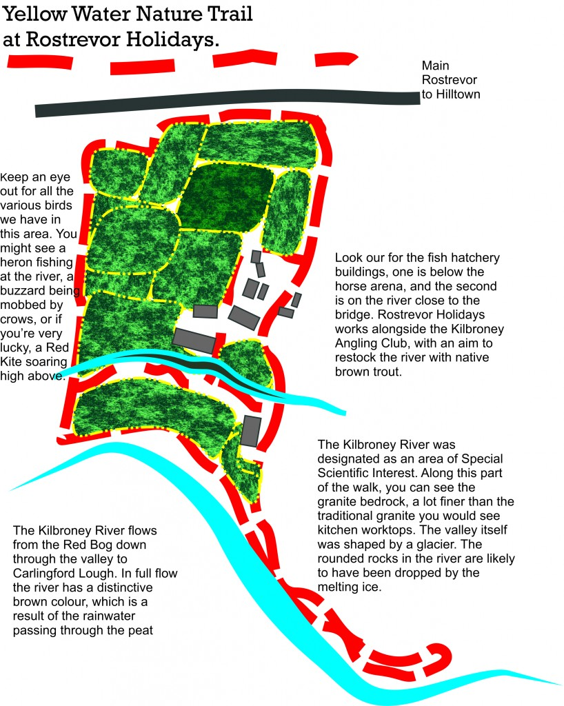 Map of Yellow Water Nature Trail at Rostrevor Holidays